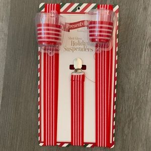 NEW! Holiday Suspenders with shot glasses